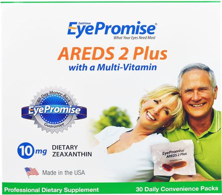 AREDS 2 Plus with a Multi-Vitamin, 30 Daily Convenience Packs by EyePromise, 維生素,多種維生素,眼部護理,視力保健,視力 HK 香港