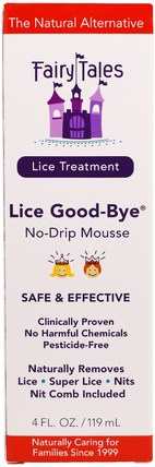 Lice Treatment, Lice Good-Bye, No-Drip Mousse, 4 fl oz (119 ml) by Fairy Tales, 洗澡,美容,頭髮,頭皮,健康 HK 香港