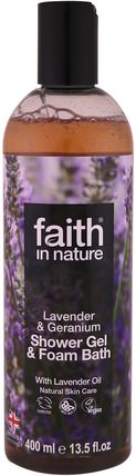 Shower Gel & Foam Bath, Lavender & Geranium, 13.5 fl oz (400 ml) by Faith in Nature, 洗澡,美容,沐浴露 HK 香港