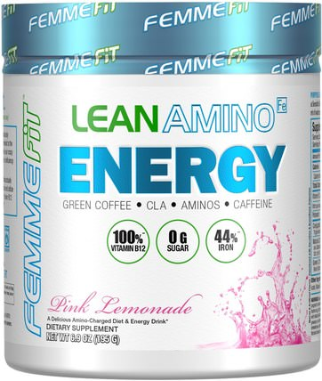 Lean Amino Energy, Fat-Burning BCAA + CLA + B12 + Caffeine Drink, Pink Lemonade, 6.9 oz (195 g) by FEMME, 運動,補品,bcaa(支鏈氨基酸) HK 香港