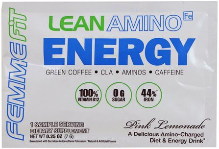 Lean Amino Energy, Pink Lemonade, 0.25 oz (7 g) by FEMME, 運動,補品,bcaa(支鏈氨基酸) HK 香港