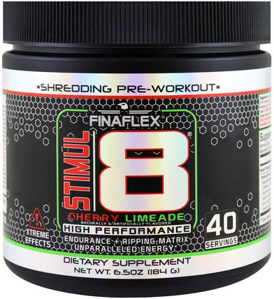 Finaflex, Stimul8, Shredding Pre-Workout, Cherry Limeade, 6.5 oz (184 g) 健康,能量,運動,鍛煉