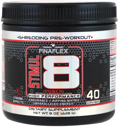 STIMUL8, Shredding Pre-Workout, Punch, 8 oz (228 g) by Finaflex, 健康,能量,運動,鍛煉 HK 香港