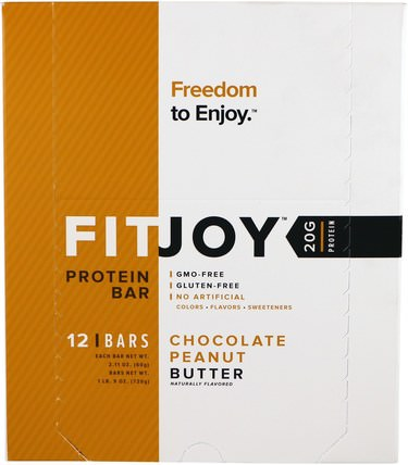 FITJOY, Protein Bar, Chocolate Peanut Butter, 12 Bars, 2.11 oz (60 g) Each 運動,蛋白質棒
