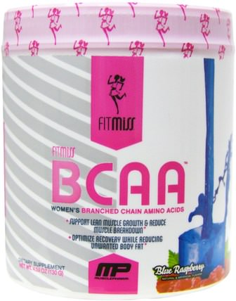 BCAA, Womens Branched Chain Amino Acids, Blue Raspberry, 5.29 oz (150 g) by FitMiss, 運動,女性運動產品,氨基酸,bcaa(支鏈氨基酸) HK 香港