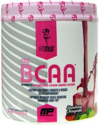BCAA, Womens Branched Chain Amino Acids, Strawberry Margarita, 5.6 oz (159 g) by FitMiss, 運動,女性運動產品,氨基酸,bcaa(支鏈氨基酸) HK 香港