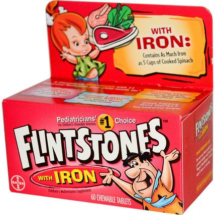 Childrens Multivitamin with Iron, Fruit Flavors, 60 Chewable Tablets by Flintstones, 維生素,多種維生素,兒童多種維生素 HK 香港