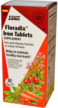 Floradix, Iron Tablets Supplement, 80 Tablets by Flora, 補品,礦物質,鐵,植物群floradix HK 香港