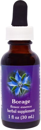 Flower Essence Services, Borage, Flower Essence, 1 fl oz (30 ml) 健康