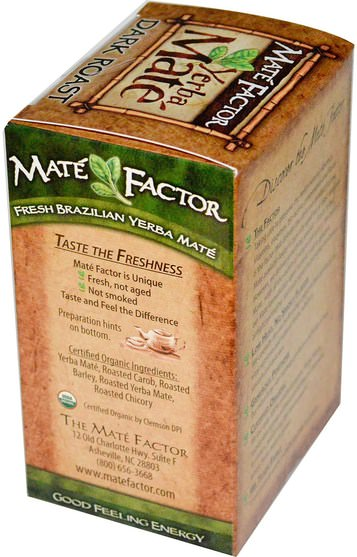 食物,咖啡黑烤,涼茶,馬黛茶 - Mate Factor, Organic Yerba Mate, Dark Roast, 20 Tea Bags, 2.47 oz (70 g)
