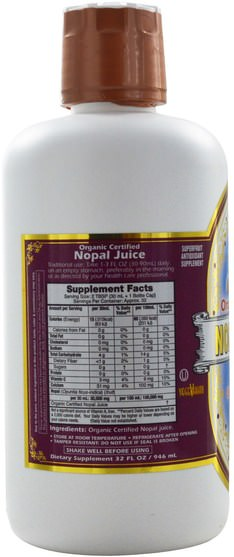 食品,咖啡茶和飲料,果汁 - Dynamic Health Laboratories, Organic Certified Nopal Gold, 32 fl oz (946 ml)