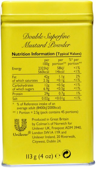 食物,調味品和調味品,芥末 - Colmans, Double Superfine Mustard Powder, 4 oz (113 g)