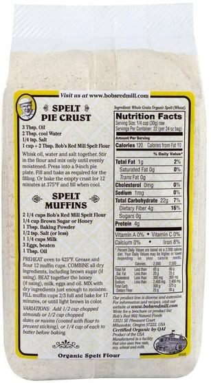 食物,麵粉和混合物 - Bobs Red Mill, Organic Spelt Flour, Whole Grain, 24 oz (680 g)