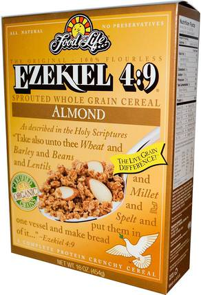Ezekiel 4:9, Sprouted Whole Grain Cereal, Almond, 16 oz (454 g) by Food For Life, 食物,食物,穀物,全麥穀物 HK 香港