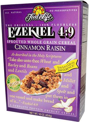 Ezekiel 4:9, Sprouted Whole Grain Cereal, Cinnamon Raisin, 16 oz (454 g) by Food For Life, 食物,食物,穀物,全麥穀物 HK 香港
