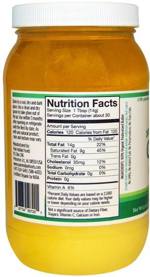 食物,酥油,酮友好 - Pure Indian Foods, Ghee, 100% Organic Grass-Fed, 15 oz (425 g)