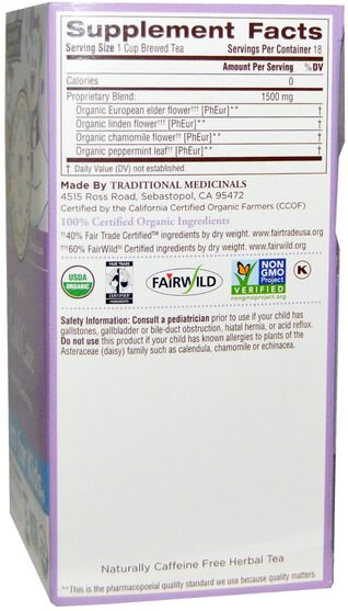 食物,涼茶,感冒感冒咳嗽 - Traditional Medicinals, Just for Kids, Organic Cold Care, Naturally Caffeine Free Herbal Tea, 18 Tea Bags.96 oz (27 g)