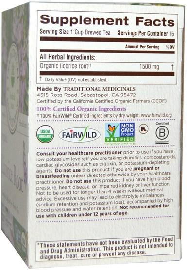 食物,涼茶,甘草茶,補品,adaptogen - Traditional Medicinals, Herbal Teas, Organic Licorice Root, Naturally Caffeine Free, 16 Wrapped Tea Bags.85 oz (24 g)