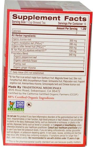 食物,涼茶 - Traditional Medicinals, Seasonal Teas, Breathe Easy, Naturally Caffeine Free, 16 Wrapped Tea Bags.85 oz (24 g)