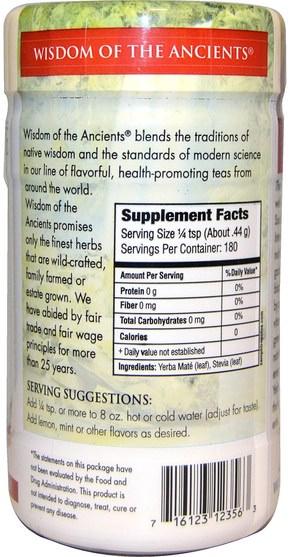食物,涼茶,馬黛茶 - Wisdom Natural, Yerba Mate Royale, Sweetened with Stevia, Instant Tea, 2.82 oz (79.9 g)