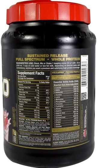 食物,酮友好 - ALLMAX Nutrition, Hexapro, Ultra-Premium Protein + MCT & Coconut Oil, Strawberry, 3 lbs (1.36 g)