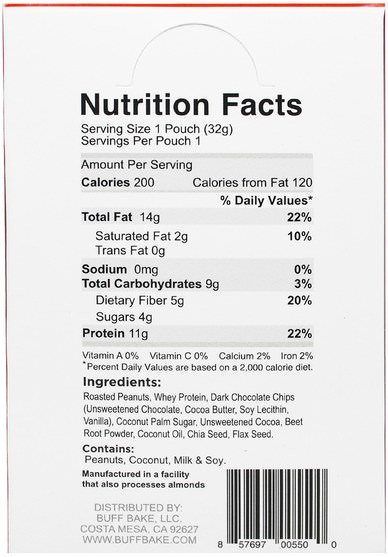 食物,花生醬 - Buff Bake, Red Velvet Protein Peanut Spread, 10 Squeeze Packs, 1.15 oz (32 g) Each