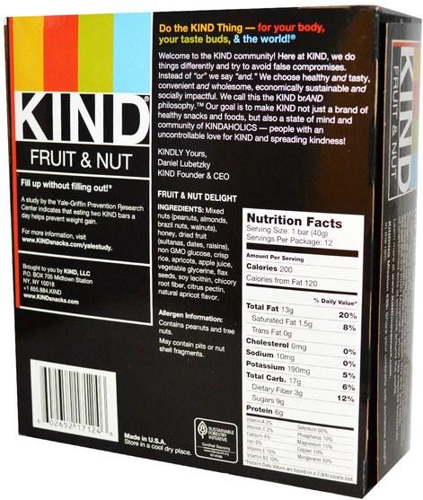 食物,零食,健康零食 - KIND Bars, KIND Fruit & Nut Bars, Fruit & Nut Delight, 12 Bars, 1.4 oz (40 g) Each