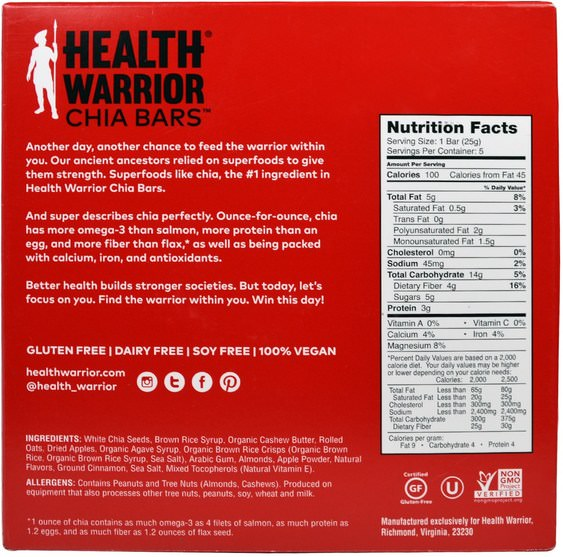食物,零食,健康零食,補品,營養棒 - Health Warrior, Superfood Chia Bars, Apple Cinnamon, 5 Bars, 0.88 oz (25 g) Each