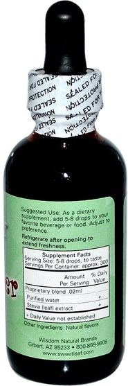 食物,甜味劑,甜葉菊 - Wisdom Natural, SweetLeaf, Liquid Stevia, Root Beer, 2 fl oz (60 ml)