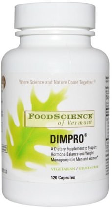 of Vermont, Dimpro, 120 Capsules by FoodScience, 補充劑,二吲哚基甲烷(暗) HK 香港