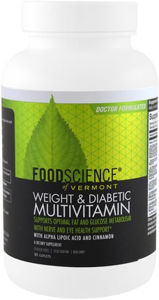 Weight & Diabetic Multivitamin, 90 Caplets by FoodScience, 維生素,多種維生素 HK 香港