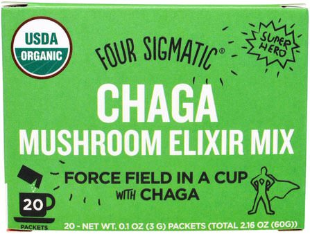 Chaga Mushroom Elixir Mix, 20 Packets, 0.1 oz (3 g) Each by Four Sigmatic, 補品,超級食品,藥用蘑菇,chaga蘑菇 HK 香港