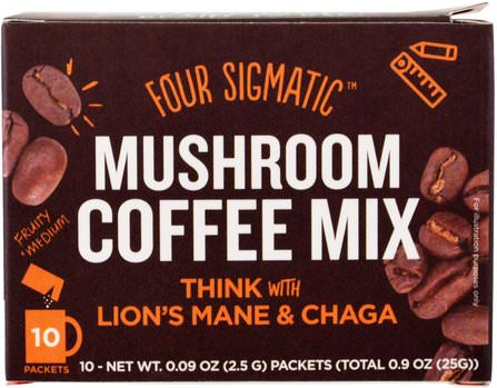 Mushroom Coffee Mix, Think With Lions Mane & Chaga, 10 Packets, 0.09 oz (2.5 g) Each by Four Sigmatic, 補充劑,藥用蘑菇,獅子鬃毛蘑菇,chaga蘑菇 HK 香港