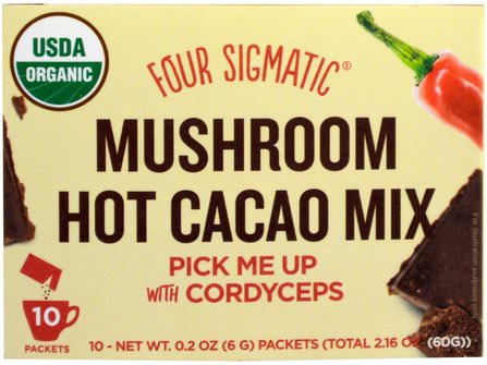 Mushroom Hot Cacao Mix, Dark & Spicy, 10 Packets, 0.2 oz (6 g) Each by Four Sigmatic, 補充劑,藥用蘑菇,冬蟲夏草,食品,可可(可可)巧克力,可可粉和混合物 HK 香港
