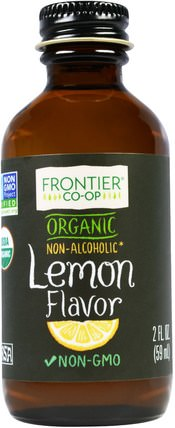 Organic Lemon Flavor, Non-Alcoholic, 2 fl oz (59 ml) by Frontier Natural Products, 食品,烘焙助劑,甜味劑 HK 香港