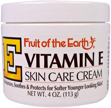 Vitamin E, Skin Care Cream, 4 oz (113 g) by Fruit of the Earth, 健康,皮膚,維生素E油霜 HK 香港