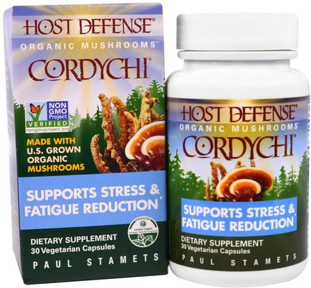 Host Defense, Cordychi, Supports Stress & Fatigue Reduction, 30 Veggie Caps by Fungi Perfecti, 健康,抗壓情緒支持 HK 香港