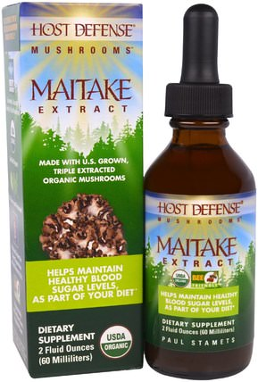 Host Defense Mushrooms, Organic Maitake Extract, Helps Maintain Healthy Blood Sugar Levels, As Part of Your Diet, 2 fl oz (60 ml) by Fungi Perfecti, 補品,適應原,健康,血糖 HK 香港