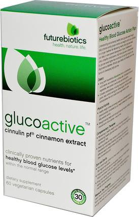 GlucoActive, Cinnulin PF Cinnamon Extract, 60 Veggie Caps by FutureBiotics, 草藥,肉桂提取物,健康,血糖 HK 香港