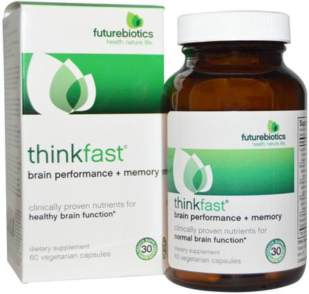 ThinkFast, Brain Performance + Memory, 60 Veggie Caps by FutureBiotics, 健康,注意力缺陷障礙,添加,adhd,腦,長春西汀,記憶 HK 香港