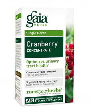 Cranberry Concentrate, 60 Vegetarian Liquid Phyto-Caps by Gaia Herbs, 草藥,蔓越莓 HK 香港