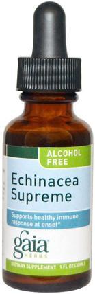 Gaia Herbs, Echinacea Supreme, Alcohol Free, 1 fl oz (30 ml) 補充劑,抗生素,紫錐花液體