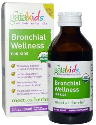 Kids, Bronchial Wellness, for Kids, Alcohol-Free, 3 fl oz (89 ml) by Gaia Herbs, 兒童健康,兒童草藥,感冒感冒咳嗽 HK 香港