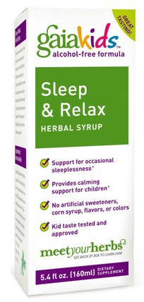Kids, Sleep & Relax Herbal Syrup, Alcohol-Free, 5.4 fl oz (160 ml) by Gaia Herbs, 兒童健康,兒童草藥,睡眠 HK 香港