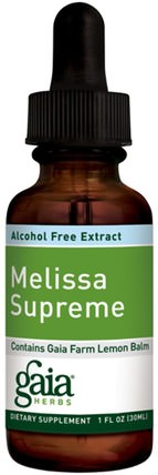 Melissa Supreme, Alcohol-Free Extract, 1 fl oz (30 ml) by Gaia Herbs, 健康,注意力缺陷障礙,添加,adhd,腦 HK 香港
