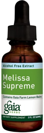 Melissa Supreme, Alcohol-Free Extract, 2 fl oz (60 ml) by Gaia Herbs, 健康,注意力缺陷障礙,添加,adhd,腦 HK 香港