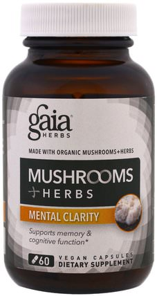 Mushroom + Herbs, Mental Clarity, 60 Vegan Capsules by Gaia Herbs, 健康,注意力缺陷障礙,添加,adhd,腦 HK 香港