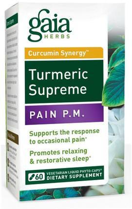 Gaia Herbs, Turmeric Supreme, Pain P.M., 60 Vegetarian Liquid Phyto-Caps 補充劑,抗氧化劑,薑黃素