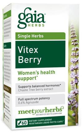 Vitex Berry, 60 Veggie Liquid Phyto-Caps by Gaia Herbs, 健康,婦女,草藥,純潔的漿果 HK 香港