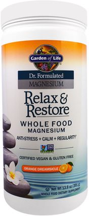 Dr. Formulated Magnesium, Relax & Restore, Orange Dreamsicle, 13.8 oz (391 g) by Garden of Life, 補充劑,礦物質,鎂,健康,抗壓力情緒支持 HK 香港